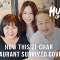 Parents and an adult daughter who are two generations owners of Sum Kee Food restaurant